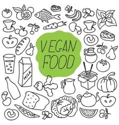Fresh food healthy eating fish and vector