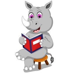 Funny rhino cartoon sitting with reading book vector