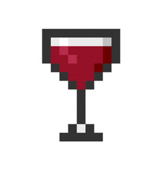 Glass wine pixel art cartoon retro game style vector