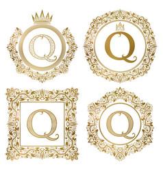 Golden letter q vintage monograms set heraldic vector
