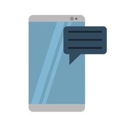Gray smartphone with bubble speak media vector