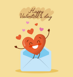 happy valentines day message envelope with love vector image vector image