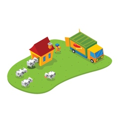 Isometric slaughtering house vector