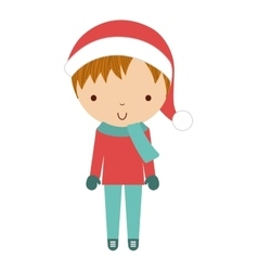 little cute boy with winter clothes isolated icon vector image