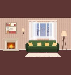 Living room interior with fireplace sofa lamps vector
