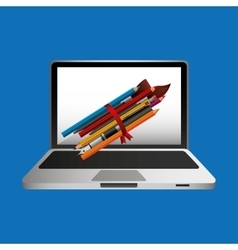 Online education concept school accessories vector