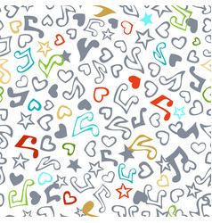 seamless love and music pattern vector image