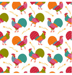 seamless pattern with creative stylized roosters vector image