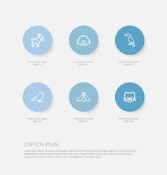 Set of 6 editable zoology icons includes symbols vector