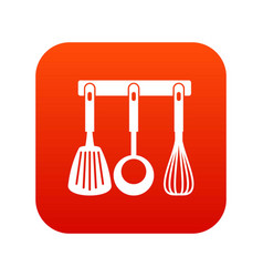 spatula ladle and whisk kitchen tools icon vector image