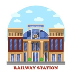 Train and railway railroad station or depot vector image vector image