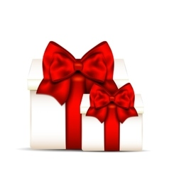 Two gift boxes with red bow isolated on white vector