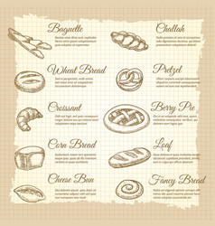Vintage poster with popular bakery products vector