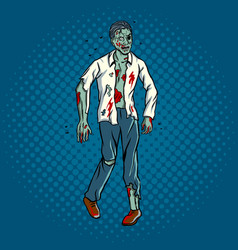 walking zombie pop art style vector image vector image