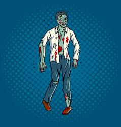 walking zombie pop art style vector image