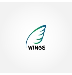Line art logo icon template wing design feather vector