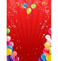 Celebration red background with balloons vector image