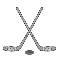 Hockey sticks and puck icon gray monochrome style vector
