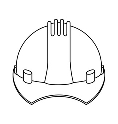 silhouette construction safety helmet icon vector image