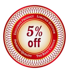 Label on 5 percent discount vector