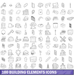 100 building element icons set outline style vector