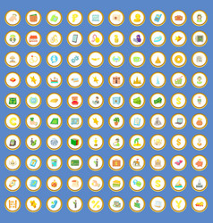 100 money and wealth icons set cartoon vector
