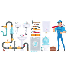 Plumbing elements collection vector