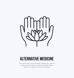 Alternative medicine flat line icon logo vector