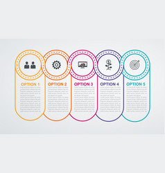 Circles timeline with 5 steps vector