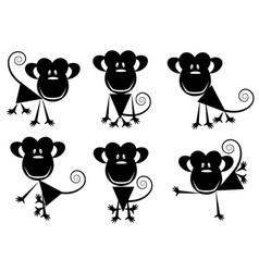 Small images of monkeys vector