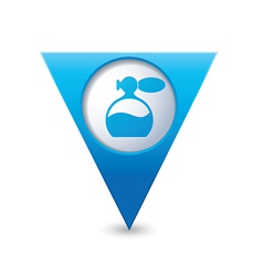 Perfume icon map pointer blue vector