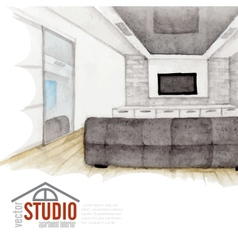 Modern watercolor interior design vector