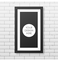 Realistic black frame on the brick wall vector