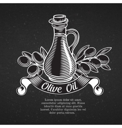 Hand drawn decorative label with a bottle of oil vector