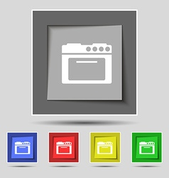 Kitchen stove icon sign on original five colored vector