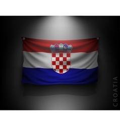 Waving flag croatia on a dark wall vector