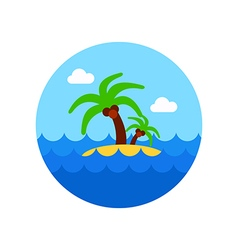 Island with palm trees icon summer vacation vector