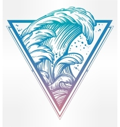Water waves in the sea line drawing vector