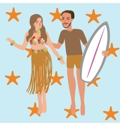Man woman dancing hawaii while holding surfing vector