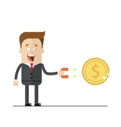 Happy businessman with a magnet to attract money vector