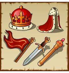 Attributes of royal authority and power king set vector