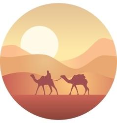 Bedouin leading a caravan of camels in the desert vector