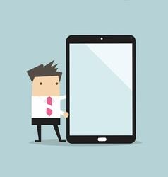 Businessman making presentation on a large tablet vector image