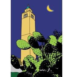 Cactus and minaret tunis vector