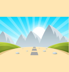 Cartoon landscape mountain sun light vector