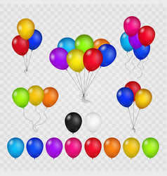 colored balloons on transparent background vector image vector image
