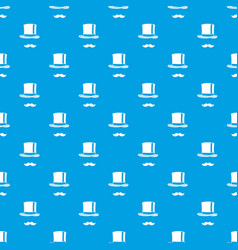 cylinder and moustaches pattern seamless blue vector image vector image