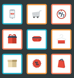flat icons present percentage trolley and other vector image vector image