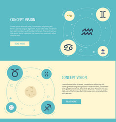 Flat icons water bearer crab horoscope and other vector