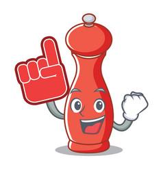 Foam finger pepper mill character cartoon vector
